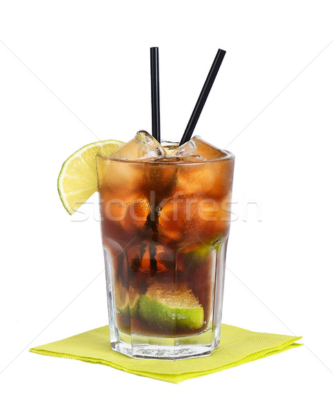 Stockfoto: Cuba · cocktail · gratis · cola · kalk · witte