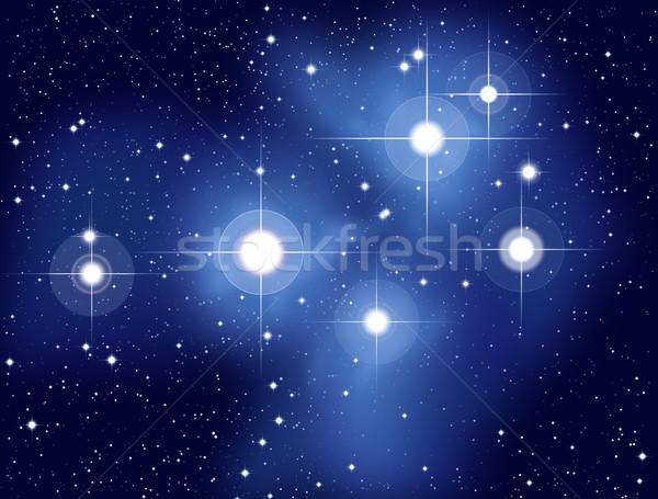 Illusztráció hét nővérek nyitva csillag gyülekezet Stock fotó © PeterHermesFurian