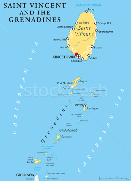 Saint Vincent and the Grenadines Political Map Stock photo © PeterHermesFurian