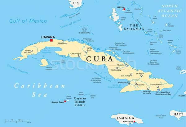 Cuba politiek kaart Havanna belangrijk Stockfoto © PeterHermesFurian