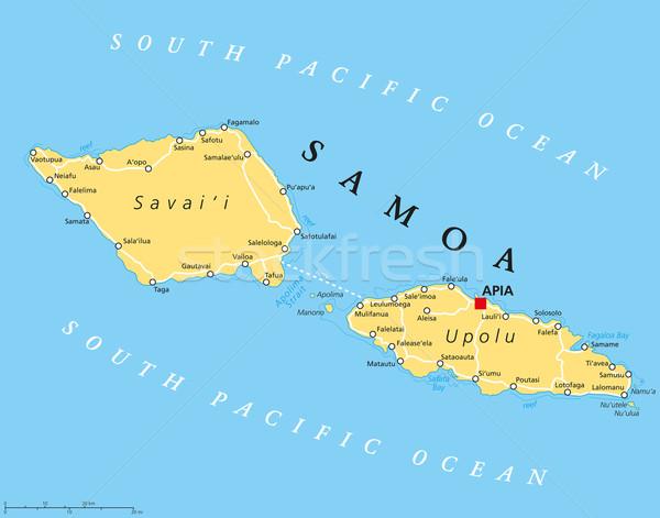 サモア諸島 政治的 地図 重要 西部 島々 ストックフォト © PeterHermesFurian