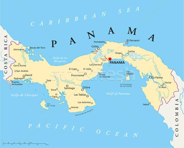 Panama Political Map Stock photo © PeterHermesFurian