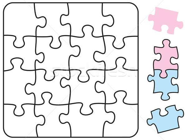 Foto stock: Rompecabezas · cuadrados · forma · piezas · pueden · ilustración