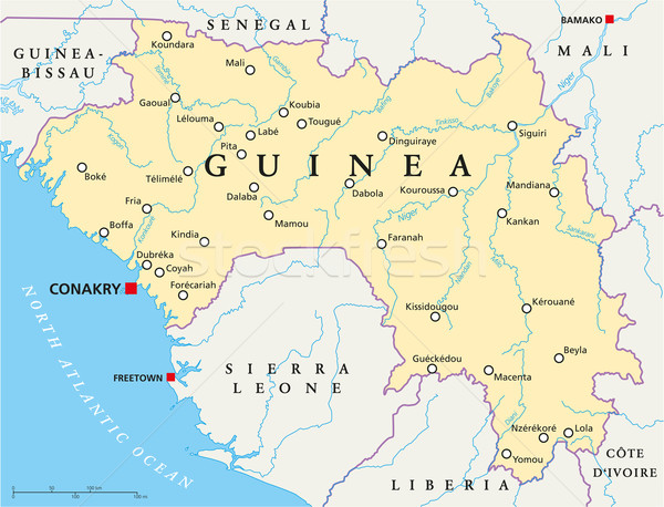 Guinea Political Map Stock photo © PeterHermesFurian