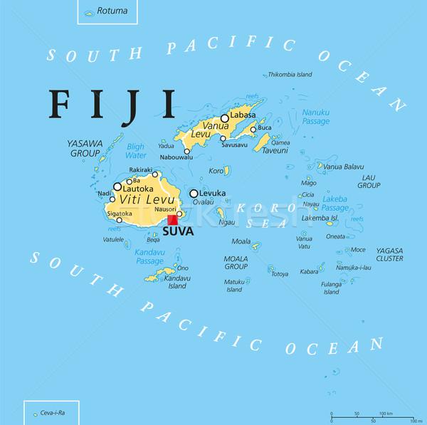 Fidzsi-szigetek politikai térkép szigetek fontos városok Stock fotó © PeterHermesFurian