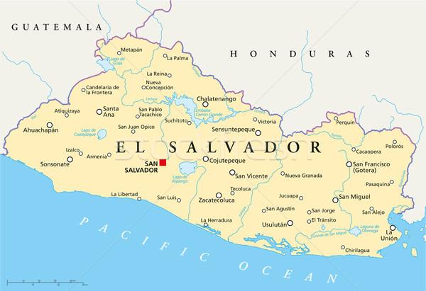 El Salvador Political Map Stock photo © PeterHermesFurian