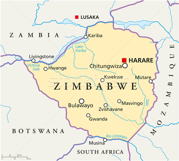 Zimbabwe politique carte importante villes Photo stock © PeterHermesFurian