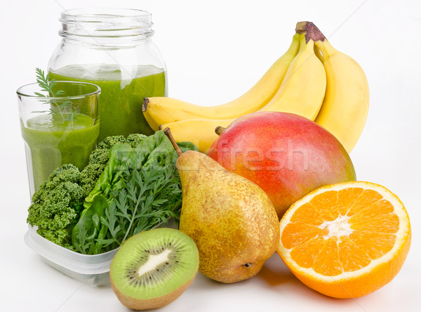 Smoothie vert fruits verre ouvrir jar fraîches Photo stock © PeterHermesFurian