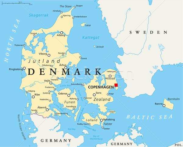 Dánia politikai térkép Koppenhága keretek fontos Stock fotó © PeterHermesFurian
