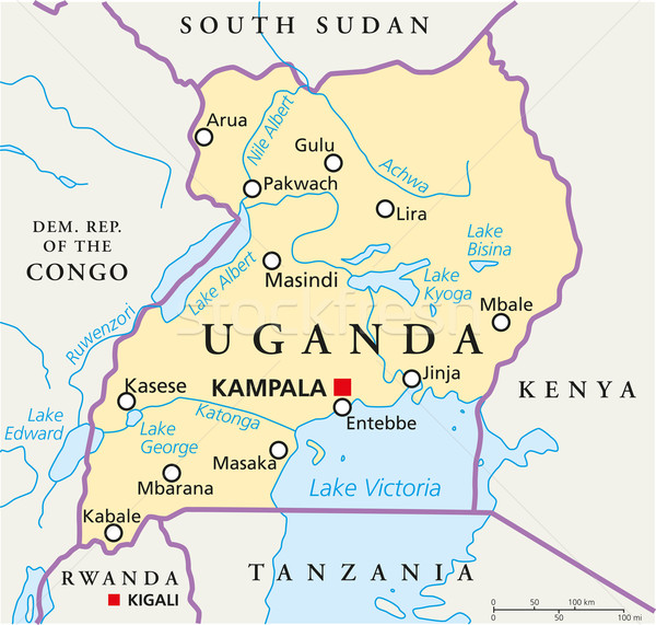 Uganda Political Map Stock photo © PeterHermesFurian