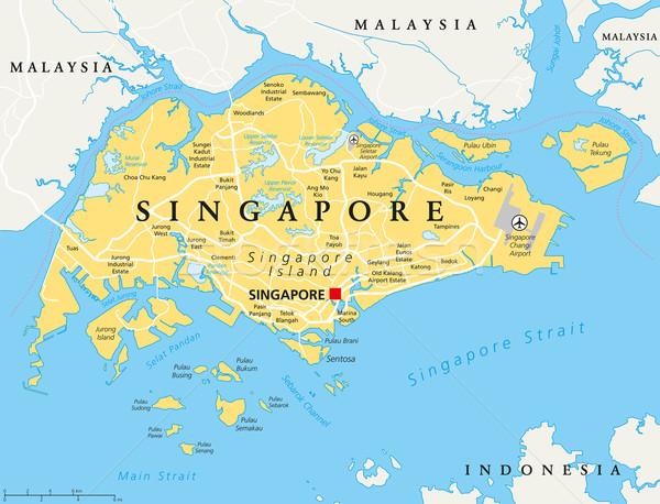 シンガポール 政治的 地図 島 重要 ストックフォト © PeterHermesFurian