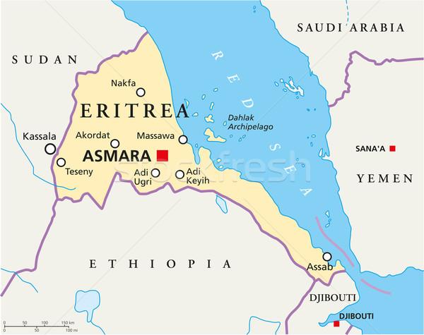 Эритрея политический карта важный Сток-фото © PeterHermesFurian
