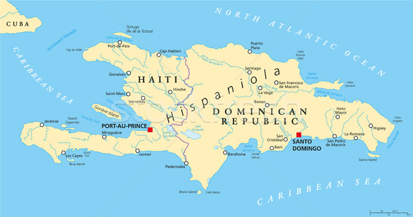 Hispaniola Political Map with Haiti and Dominican Republic Stock photo © PeterHermesFurian