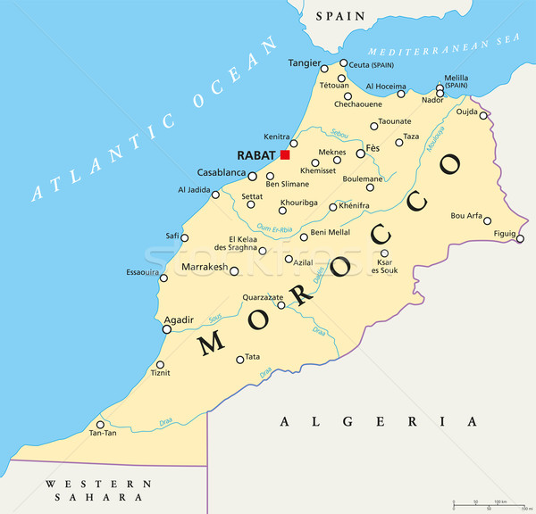 Morocco Political Map Stock photo © PeterHermesFurian
