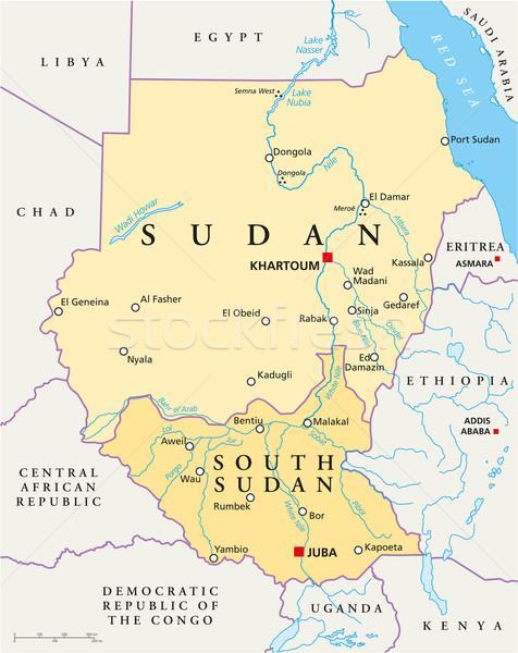 Sudan and South Sudan Political Map Stock photo © PeterHermesFurian