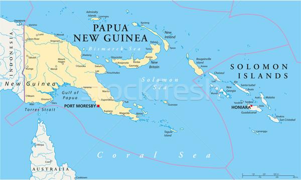 Papoea-Nieuw-Guinea politiek kaart haven belangrijk Stockfoto © PeterHermesFurian