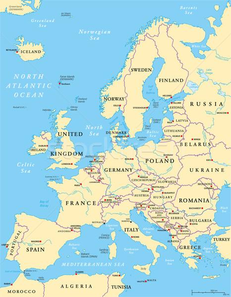 Europe Political Map Stock photo © PeterHermesFurian