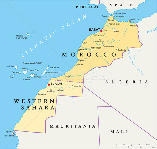 Fas batı sahara siyasi harita Stok fotoğraf © PeterHermesFurian