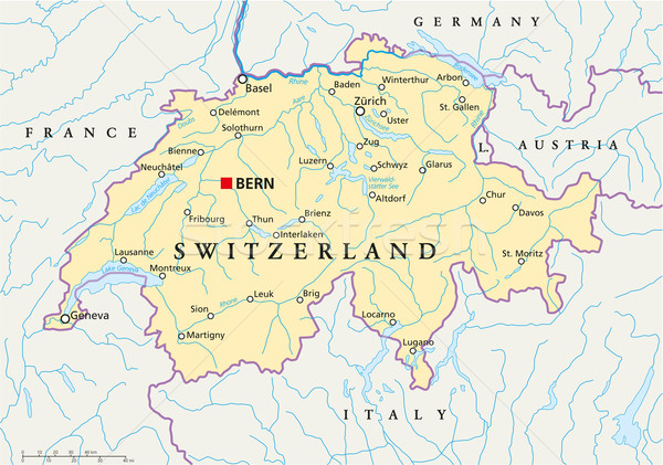 Switzerland Political Map Stock photo © PeterHermesFurian