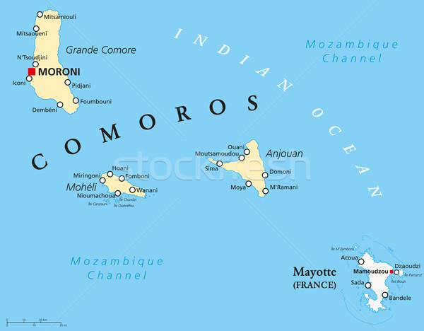 Comoros and Mayotte Political Map Stock photo © PeterHermesFurian