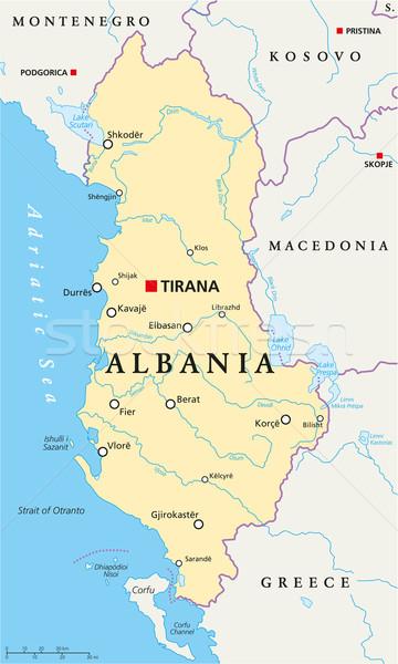 Албания политический карта важный Сток-фото © PeterHermesFurian