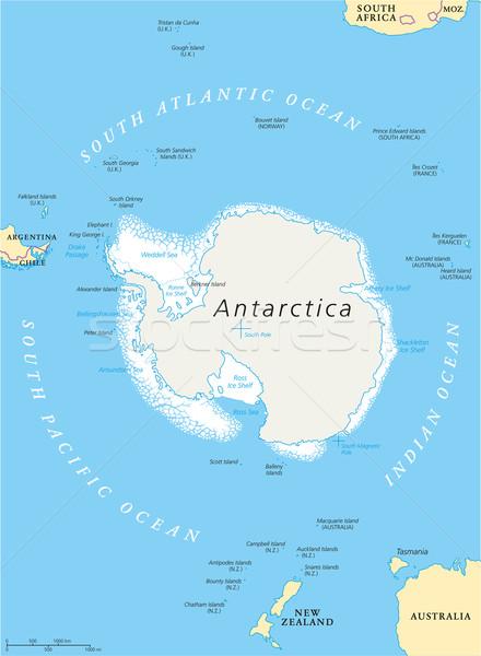 Región político mapa sur polo hielo Foto stock © PeterHermesFurian