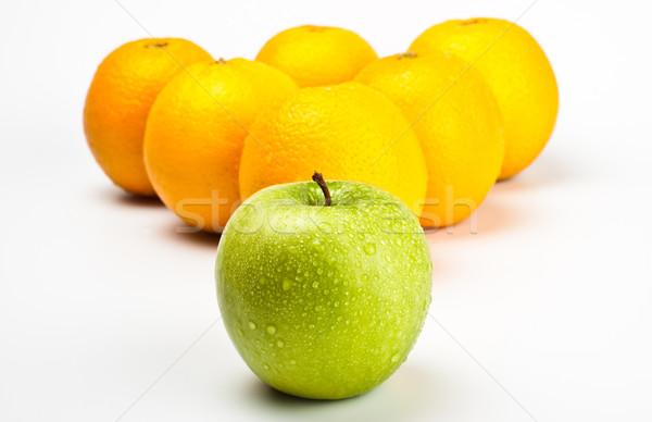 Foto stock: Laranjas · maçã · como · de · bilhar · cinza