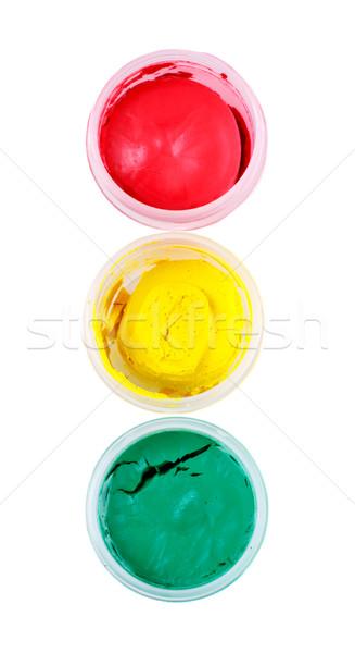 Verf drie zoals stoplicht geïsoleerd witte Stockfoto © PetrMalyshev