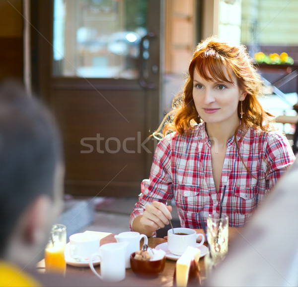 Couple in Cafe Stock photo © PetrMalyshev