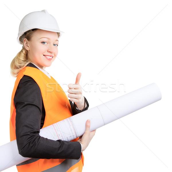 Engineer Woman Thumbs Up Stock photo © PetrMalyshev