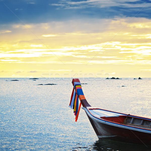 Stok fotoğraf: Gün · batımı · deniz · tekne · dalgalar · Tayland · su