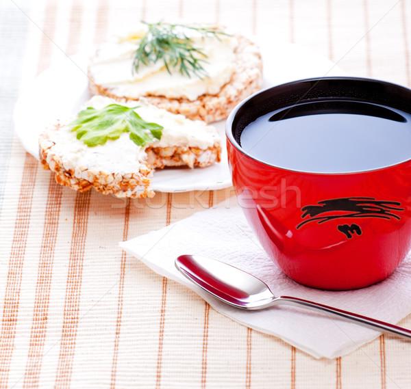Régime alimentaire déjeuner thé maïs pain papier Photo stock © PetrMalyshev