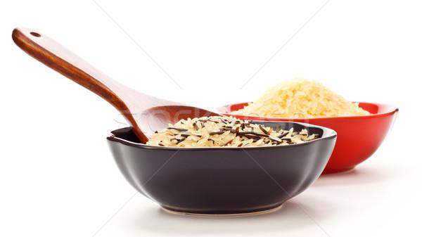 Foto stock: Bolos · crudo · arroz · dos · cuchara · de · madera · naturaleza