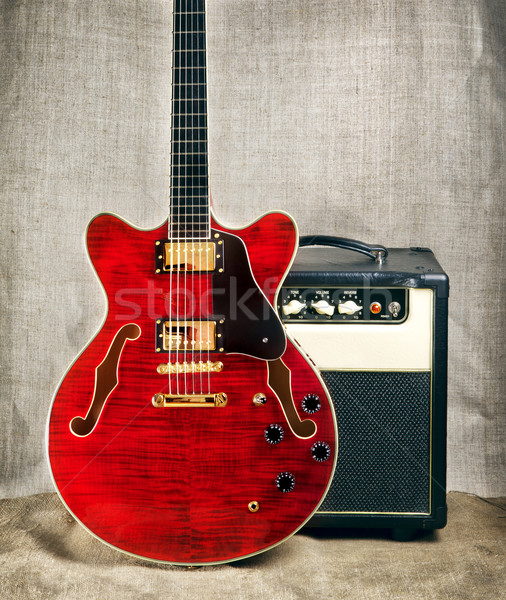 Semi-Hollow Guitar and Amplifier Stock photo © PetrMalyshev