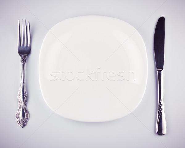 Lege witte schotel mes vork grijs Stockfoto © PetrMalyshev