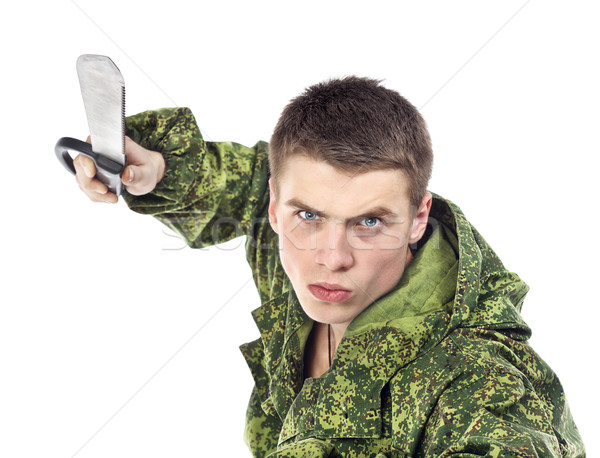 Military Man Attack With Knife Stock photo © PetrMalyshev