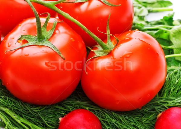 Hortalizas ensalada frescos tomates primer plano Foto stock © PetrMalyshev