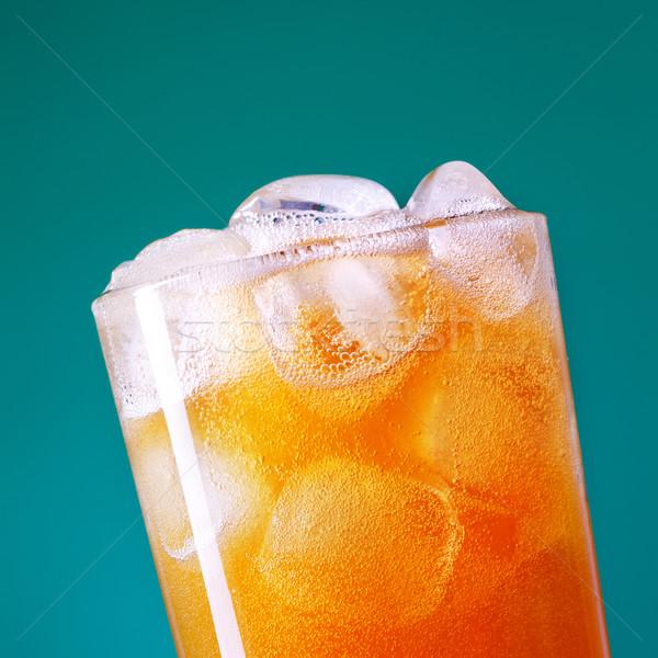 Soda vidro topo gelo azul verde Foto stock © PetrMalyshev