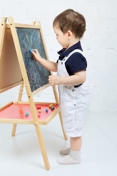 Child Drawing With Chalk Stock photo © PetrMalyshev