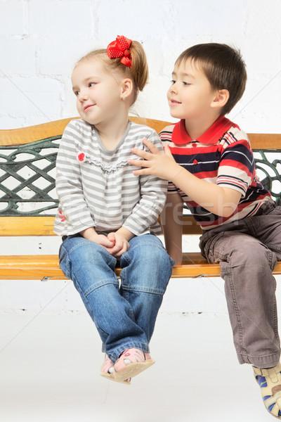 Children on bench Stock photo © PetrMalyshev