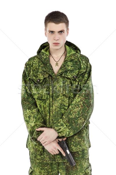 Foto d'archivio: Militari · uomo · gun · giovani · isolato · bianco
