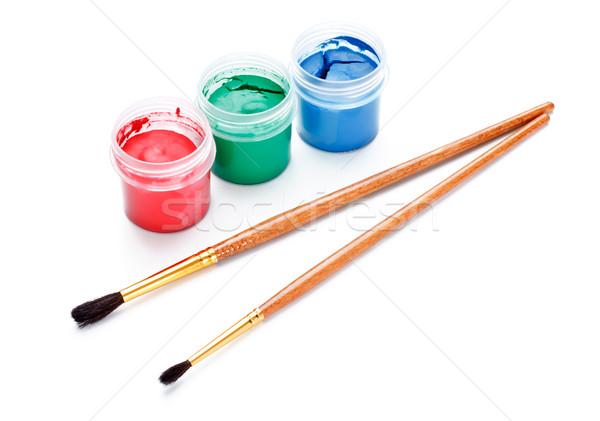 Verf geïsoleerd witte groene Blauw tools Stockfoto © PetrMalyshev