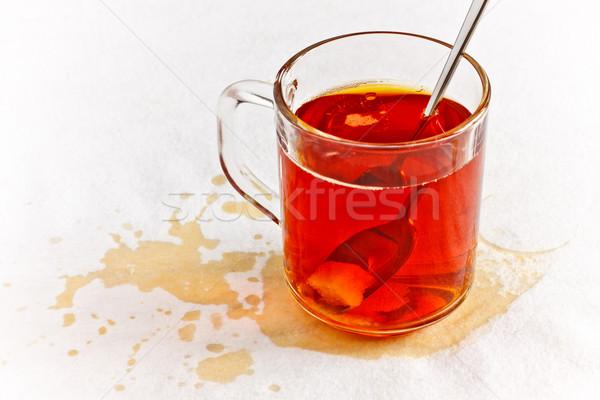 Herbaty szkła tabeli biały serwetka śniadanie Zdjęcia stock © PetrMalyshev