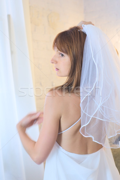 Oblubienicy zasłona piękna kobieta biały suknia ślubna Zdjęcia stock © PetrMalyshev