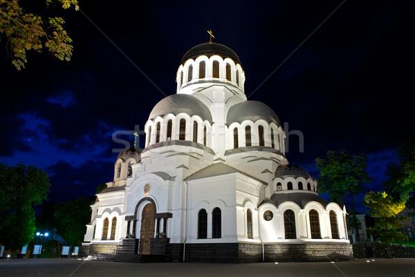 Katedral Ukrayna gece bulutlar yeşil kilise Stok fotoğraf © PetrMalyshev
