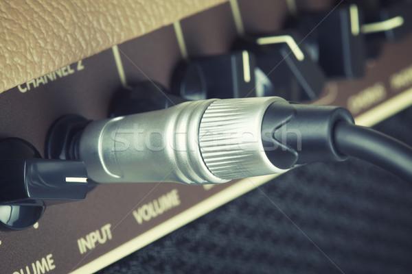 ギター コントロールパネル レトロな ケーブル 黒 電源 ストックフォト © PetrMalyshev