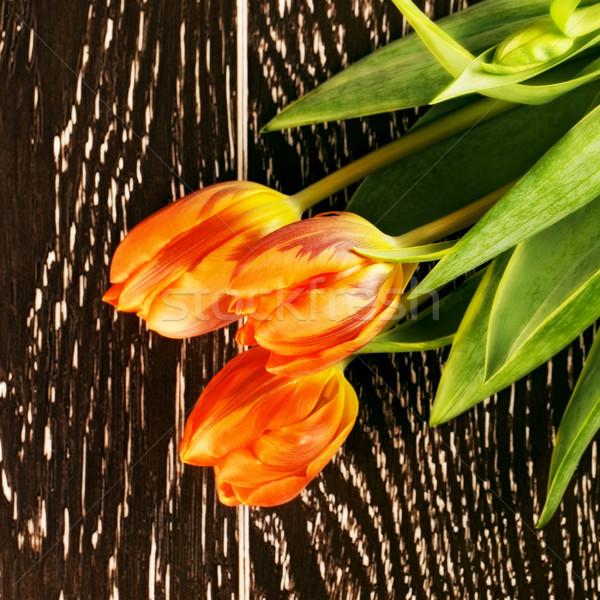 Turuncu lâle çiçekler buket ahşap çiçek Stok fotoğraf © PetrMalyshev