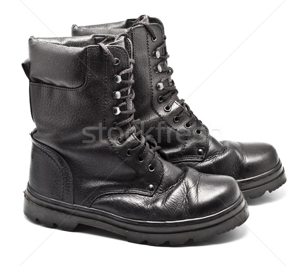 Black Leather Army Boots Stock photo © PetrMalyshev