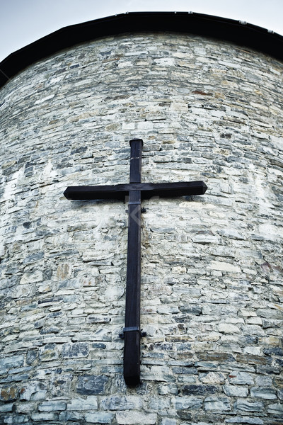 Foto stock: Atravessar · parede · velho · torre