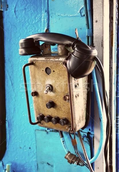 Retro elektryczne lokomotywa telefonu starych przemysłowych Zdjęcia stock © PetrMalyshev